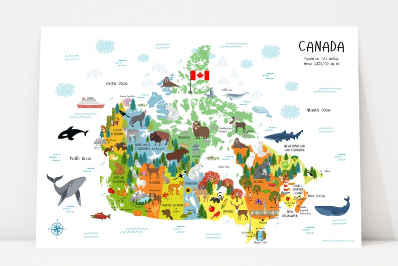 Canada Map Kids Map of Canada Provinces Kids Room Decor image 0
