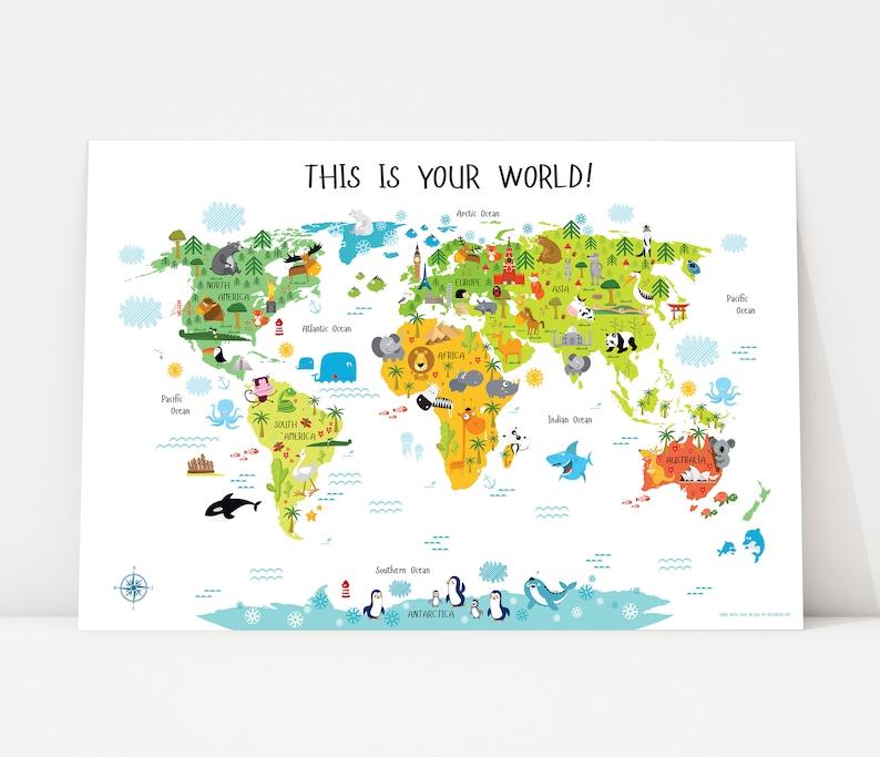 Printable Wall Art World Map Digital Download up to image 0