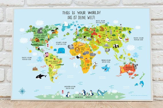 World map german baby gifts german poster world map wall gumiabroncs Image collections