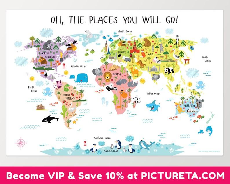 Baby Shower Gift Kids World Map Baby Girl Gift New Baby image 0