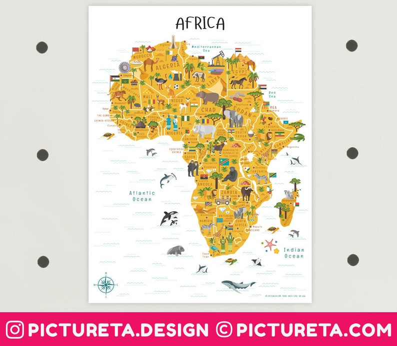 Africa Map Printable Art African Animals INSTANT DOWNLOAD image 0