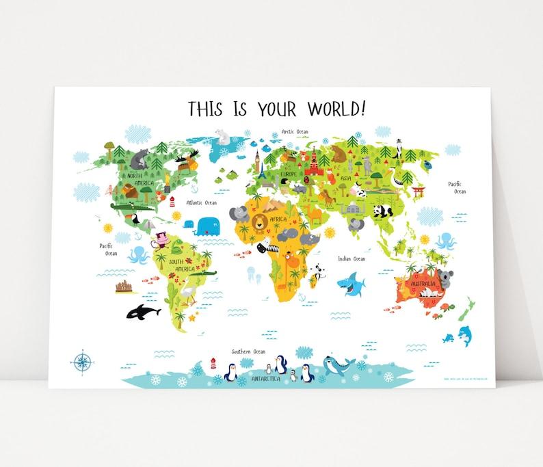 Nursery Art World Map Poster Animal Nursery Art Playroom image 0