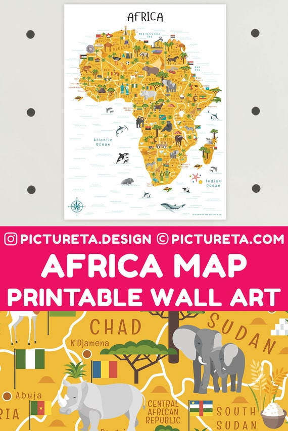 Africa Map Printable Art African Animals INSTANT DOWNLOAD | Etsy
