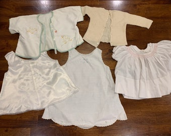 888fba9cf3c3 Vintage Baby Girl or Doll Clothes. 9-12 months. Baby Sundress. Bsby Satin  Slip. Baby Sweater. Vintage Baby Dress. Vintage Embroidered Dress