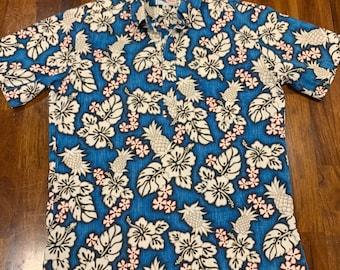 Oahu Lew/'s Shirt Shack Vintage Hawaiian Shirt NUI NALU 70s Aloha Surfer Shirt Enchanted Tiki Hut Tribal Pattern Reverse Print Mens L