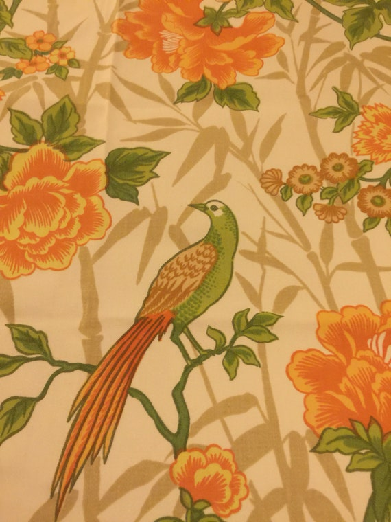 Vintage Upholstery Fabric 1 2 Yard French Fabric Bird Etsy