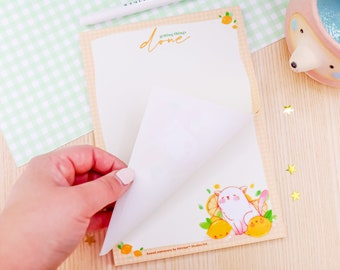 Kawaii Lemon Cat Gingham Detail A5 Stationery Notepad Letter Paper - A5 Stationary Pad - Kawaii Pad - Letter Paper - 50 Sheets - Katnipp