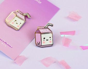 b06a874ba Milk Carton Enamel Pin - Marshmellow Milk - Kawaii Enamel Pin Badges - Bag  Accessories - Fashion Accessories - Kawaii - Katnipp