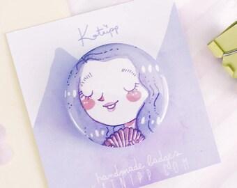 Cute Mermaid Badge - Kawaii Illustrated Badge - 37 mm Badge - Pastel Pin - Pastel Brooch - Kawaii Button - Mermaid Buttons - Button Badges