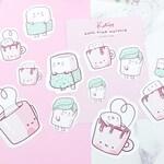 12 x Marshmellow Cosy Bath Time Sticker Set - Handmade Sticker Set - Pastel - Kawaii Stickers  - Marshmellow Stickers
