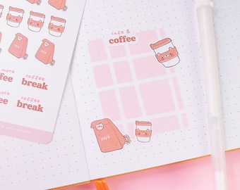 Coffee To Go! Latte Barista Coffee Addict Planner Stickers ~ Kawaii Polco Deco Planner Stickers - Cosy Cafe Stickers ~ Cute Katnipp Stickers