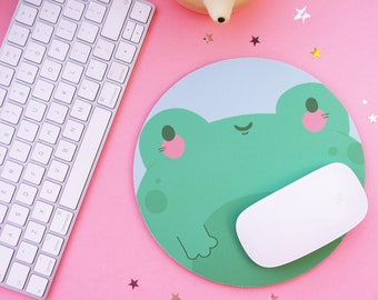 Kawaii Frog Mouse pad - Cute Frog Mouse Mat - Cute Frog Illustrated Mousemat - Kawaii Mouse mat - Fall Decor - Office Decor