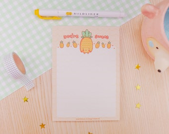 Kawaii Pineapple Cute Notepad Pastel A6 Stationery Notepad Letter Paper - A6 Stationary Pad - Kawaii Pad - Letter Paper - 50 Sheets Katnipp