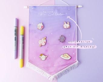 Pin Display Banner - Kawaii Enamel Pin Board - Enamel Pin Hoop - Enamel Pin Collection Display - Custom Pin Display - Pin Pennant - Banner
