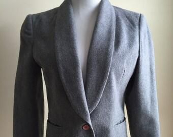 Vintage 1970s Tailored Grey Wool Blazer