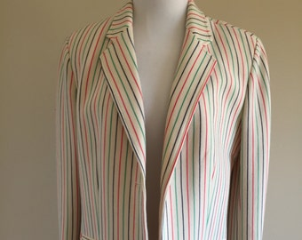 Vintage 1960s Cream Blazer with Colorful Stripes