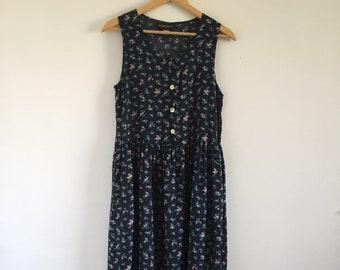 Vintage 1990s Navy Blue Floral Sleeveless Market Dress - Size Medium