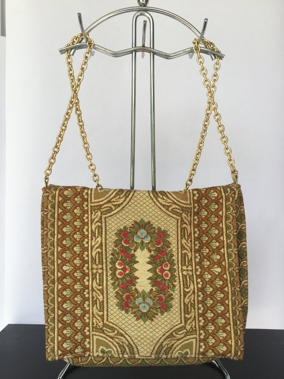 Vintage 1950s Tapestry Evening Bag with Chain