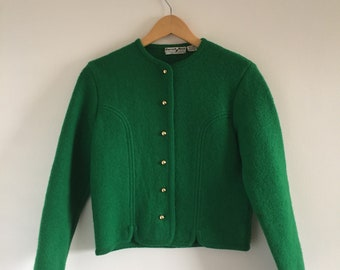 Vintage 1960s Carroll Reed Ski Shops Kelly Green Wool Cardigan Sweater - Size Small