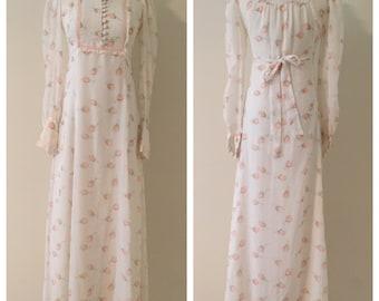 1970s Vintage Victorian Revival Dress