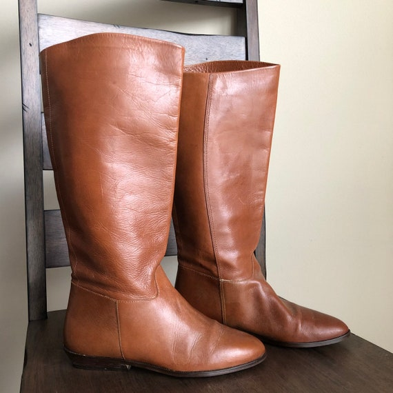 Vintage 1970s Brown Leather Riding Boots