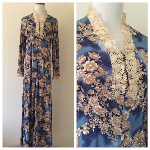 Vintage 1970s Blue and Tan Floral Long-Sleeved Max