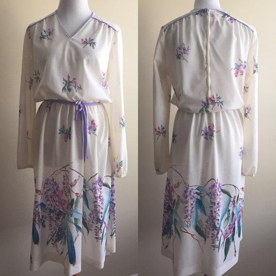 Vintage 1970s Sheer White Long-Sleeved Floral Dres