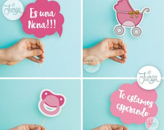 Photo Booth Baby Shower Nena Imprimible Props