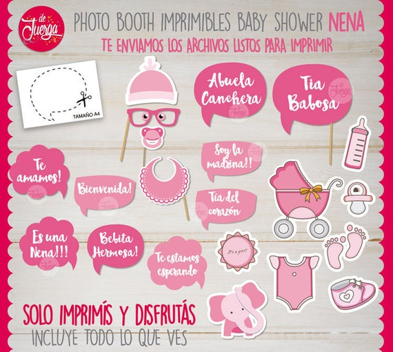 Photo Booth Baby Shower Nena Imprimible Props Etsy