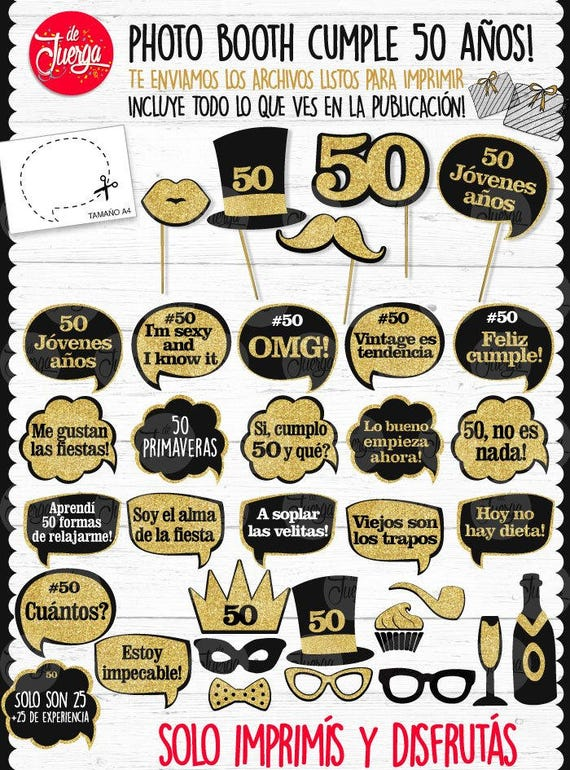 50 Anos Photo Booth Props Imprimible Cumple 50 Ano Pdf Etsy