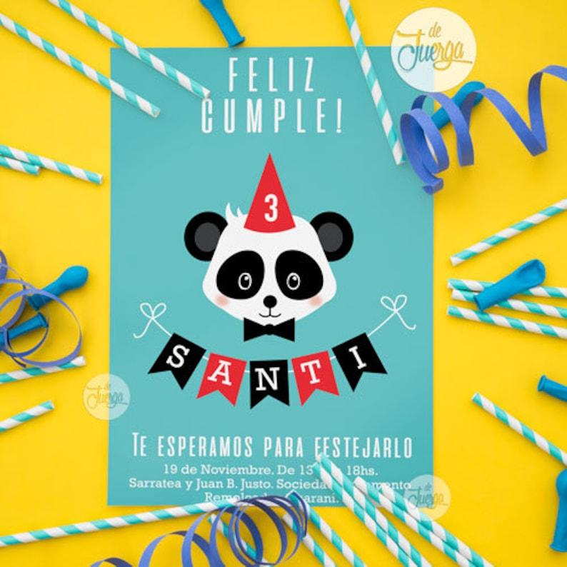 Panda Bear Invitation Personalized Printable Birthday Polar