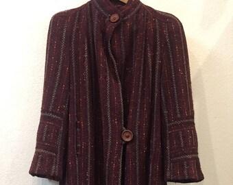 1940s Wool Striped Burgundy Coat