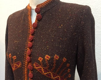 1940s Brown Tweed Jacket with Needlepoint Accents