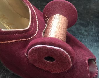 1940s  Delman Suede Peep Toe  Pumps with Spools of Thread