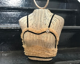 1950s Novelty Figural Wicker Purse Handbag Bust