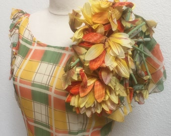 1930s Plaid Dress with Large Beautiful Floral Corsage