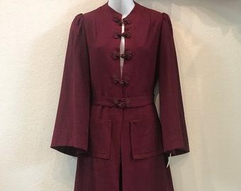 1930s Burgundy Wool Coat/Dress