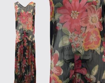 1920s Floral Silk Chiffon Flapper Dress