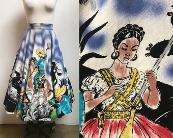 1950s Women Warriors Hand Painted Mexican Circle Skirt