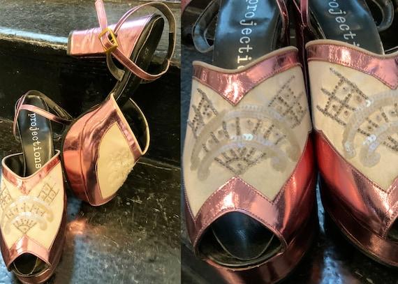Vintage 90s does 70s Pink Peep toe Platforms Ankle