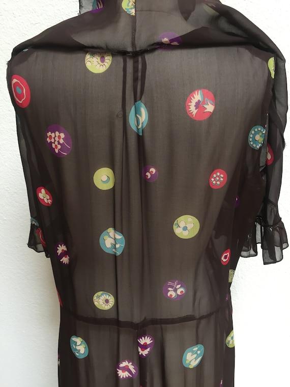 1920s-1930s Printed Silk Chiffon Ruffle Bib Dress - image 8