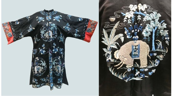 Antique Chinese Rare Elephant Embroidered Robe