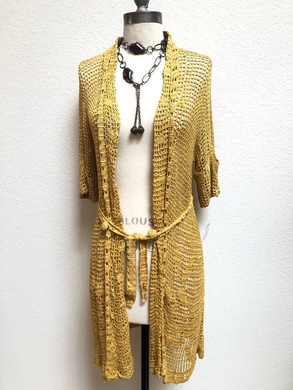 1930s Crocheted Gold Cardigan with roses, belted … - image 1