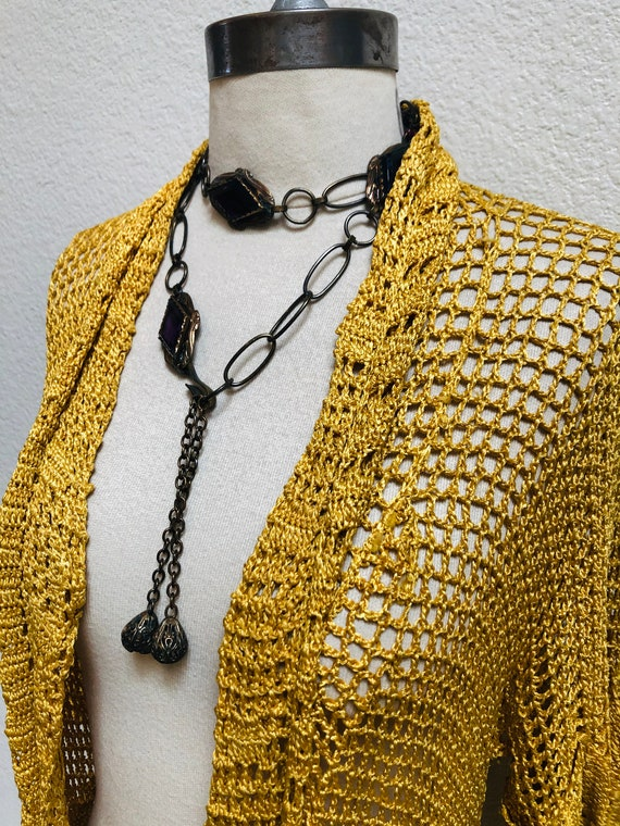 1930s Crocheted Gold Cardigan with roses, belted … - image 2
