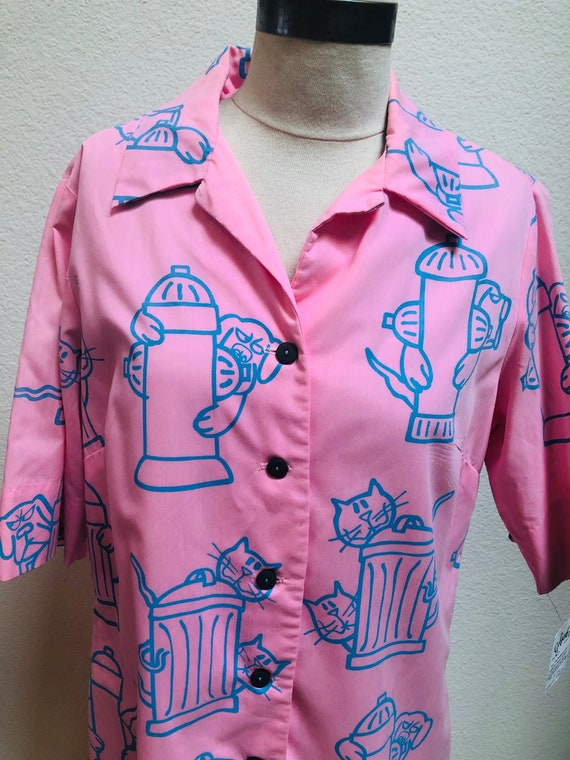 SALE!! 1980s Novelty Dog and Cat Print Housecoat D