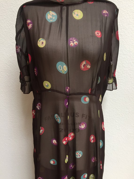 1920s-1930s Printed Silk Chiffon Ruffle Bib Dress - image 3