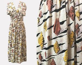 SALE 1940s Novelty Print Dali-esque Rayon Jersey Dress Shells