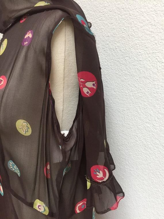 1920s-1930s Printed Silk Chiffon Ruffle Bib Dress - image 4