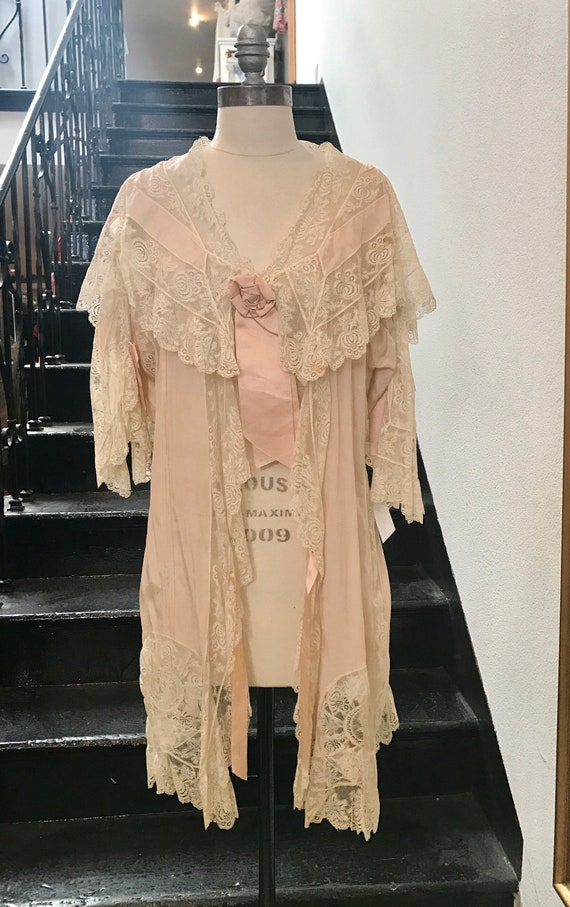 1920s Silk and Lace Dressing Gown Lingerie Robe | Etsy