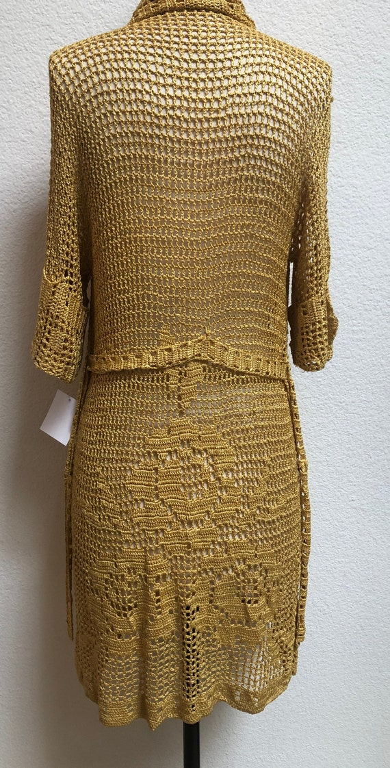 1930s Crocheted Gold Cardigan with roses, belted … - image 3